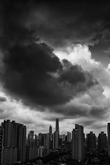 Shanghai, China (Sunset Noir) Tags: shanghai china urban art architecture cloud city cityscape scape skyline sky black white chinese photo