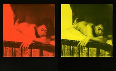 sanger in stereo (broaddaylight) Tags: diptych duochrome sanger whiskeywaffles slr690 polaroid impossibleproject impossiblegirls thirdmanrecords