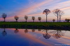 Blue hour reflection (Johan Konz) Tags: bluehour reflection sunset rural road trees blue orange sky outdoor landscape field serene atmosphere nikon d90 cloud dusk purmerland waterland netherlands watercourse
