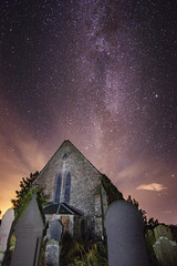 Angus Church under stars (Chris B70D) Tags: autumn night stars galaxy milky way f28 tokina 1116 colours sky light pollution angus abandoned church derelict countryside grave yards stones out city