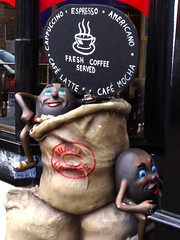 Full of Beans (Alan FEO2) Tags: beans sacks signs coffee cappuccino espresso latte americano mocha fountainsquare hanley stokeontrent staffordshire fullofbeans display outdoors 116picturesin2016 29 internationalcoffeeday panasonic dmc g1 2oef