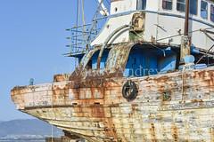 Stern (Ivanov Andrey) Tags: ship boat old rust rusty stern deck mast lifeline repairs cabin coast sea ocean horizon blue sky cloud sail anchor board wood tide surf cyprus