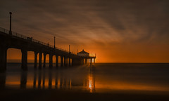 Sun Shy [EXPLORE #2: 10/19/16] (Wilkof Photography) Tags: manhattanbeach losangeles california southerncalifornia pacificocean pier beach architecture beachfront canont4i cloudy canon golden horizon hazy landscape 18135mm 18mm lens light land le nd1000 longexposure neutraldensity nature ndfilter outside ocean perspective reflection reflect shadow sky sunset sand sea sundown symmetry seascape silhouette shore shoreline shadows water wet waves coast sunlit sunlight sun wilkofphotography