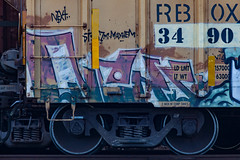 (o texano) Tags: houston texas graffiti trains freights bench benching next nekst defthreats dts a2m adikts mayhem