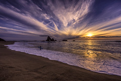 Turbulent sky at sunset (Simon Huynh) Tags: martinsbeach pacificcoastline pacificocean highway1 sunset cloudy surfer photography