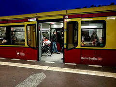 another day is gone (samuele.dangelo) Tags: berlin street urban city autumn fall sky red yellow blue sunset people transportation outdoor deutschland bahn sbahn neukolln huawei p9 plus