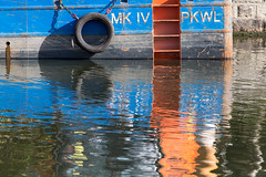 untitled (robwiddowson) Tags: water river thames oxford reflection industrial boat abstract colour color robertwiddowson photo photograph photography image