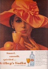 Gilbey's Vodka 1963 (moogirl2) Tags: vintageads vodka gilbeys 60s hats vintagehats vintagefashion 1960s 60sfashion orange screwdriver