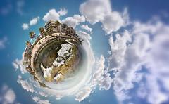 walking on water (amfipolos) Tags: sea sky panorama clouds photoshop seaside spring rocks 360 athens panoramic greece handheld sonycybershot springtime polarcoordinates alimos ελλάδα tinyplanet σύννεφα θάλασσα littleplanet polarpanorama αθήνα άνοιξη stereographicprojection παραλιακή βράχια ουρανόσ άλιμοσ pixelbender πλανήτησ