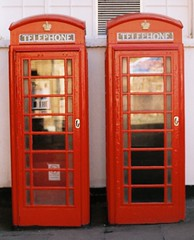 Twin Phone Box's (Song-to-the-Siren) Tags: film 35mm twins zenit 18 guildford phonebox redphonebox russiancamera fujisuperia200 sovietcamera zenit18