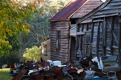 oh what a load of rubbish (loobyloo55) Tags: wood brown white tree green rust bluemountains kangaroo rubbish newsouthwales shack