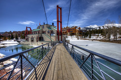 The Dredge Footbridge, Breckenridge, Colorado (Thad Roan - Bridgepix) Tags: bridge blue trees sky snow ski mountains ice water clouds gold restaurant pond colorado rocks footbridge bridges pedestrian historic resort mining replica breckenridge hdr dredge facebook bridging cablestayed photomatix bridgepixing bridgepix 201304