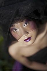Midnight Sun II (Pixie) Tags: beauty fashion closeup canon dark asian model eyes dof dish fashionphotography makeup lips shallow tulle 50mmf14 finalproject strobes canon5dmarkii eleonorapalmieri