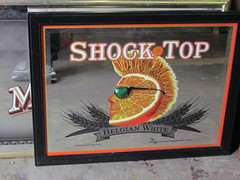 shock top (William Keckler) Tags: old orange texture vintage print advertising lost reading decay finger mirrors kitsch gone retro ephemera read odd faded mohawk fauxhawk americana messages selling fleamarket bizarre ephemeral disappearance disappear vanish vanished belgianwhite shocktop shocktopbelgianwhite