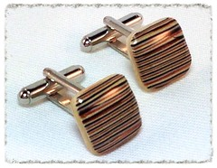 Shades of Brown striped square cufflinks