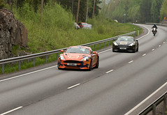Aston Martins chased by a guy on a moped @ Gumball 3000 (K3ntFIN) Tags: park copyright car race speed canon finland fun for spring outdoor may exotic dos 7d expensive premier 3000 gumball 2013