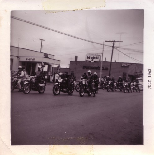 Mobil oil and Bikers in 1963