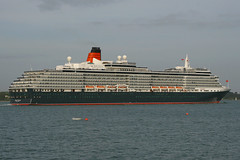 Queen Victoria, Southampton, May 2nd 2009 (Suburban_Jogger) Tags: queenvictoria cunard carnivalcruises southamptonwater hythe hampshire 2009 may spring caon 10d 24105mm passenger travel public transport ship cruise liner water sea ocean