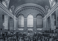 Grand Central Terminal (12bluros) Tags: windows grandcentralterminal manhattan mainconcourse newyorkcity newyorkcitylandmark blackandwhite digitalblackandwhite people peopleinnewyork city travel 1001nights newyorkcityusa beauxarts trainstation room clock landmark commuters midtown canoneosrebelsl1 efs1855mmf3556isstm beauxartsarchitecture nationalhistoriclandmark usnationalregisterofhistoricplaces 89east42ndstreetatparkavenuenewyorkny10017 east42ndstreetatparkavenue canonefs1855mmf3556is architecture