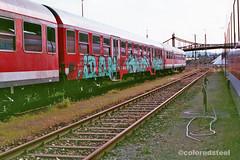 imm008_9A (coloredsteel) Tags: rossmann 400 fuji graffiti ulm train writing bombing trainspotting coloredsteel streetart analog street photography minolta 7000 af