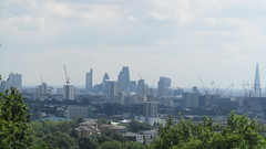 A misty view of London from Parliament Hill - so many cranes! (Londrina92) Tags: londra london parliamenthill hampstead park parco view landscape panorama shard hilly outdoor nature skyline gherkin cranes gru