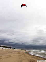 A long walk back. (Roelofs fotografie) Tags: nikon d3200 wilfred roelofs belgium zee sea seaside noordzee north sky air clouds cloud water wave white blue rain 2016 coast nature landscape bredene walk sand outdoor shore beach kite