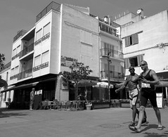 sitges 2016 (gerben more) Tags: building gay shirtless bulge blackwhite monochrome sitges spain couple square