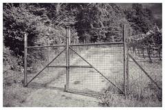 Gate (BKFofOF) Tags: schwarzweiss x100t fujifilmx100t bayern spessart bw fence zaun fujix100t bavaria alzenau