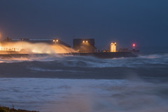 Beating the breakwater (Chris M Lawrence) Tags: porthcawl storm waves weather sea surf ocean lighthouse breakwater night