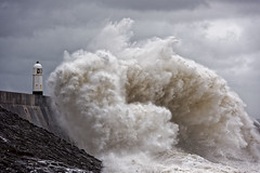 Breakwater (PogiPete) Tags: big waves storm atlantic coast coastal defence defences tidal lighthouse seawall seascape south wales sea foam uprising turbulent surge whitecap roller breaking swell surf inclement weather harbour watch warning