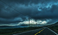 storm is abrewing (-liyen-) Tags: storm grosmorne woodypoint troutriver newfoundland clouds dramatic road vanishingpoint stormy fromthecar fuixt1 canada atlanticcanada darkclouds