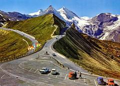 Austria - Groglockner [027] - front (Ye-Di) Tags: 70s austria postcard sterreich grosglockner vw beetle kfer fiat 850 renault dauphine opel rekord coup kadett volkswagen ansichtskarte mountain