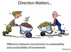 Direction-matters-sustainability-investments-txt-illustration-by-frits-ahlefeldt (Frits Ahlefeldt, Hiking.org) Tags: wheelbarrow sprout growth farming farmer investment investor money rich profit businesss