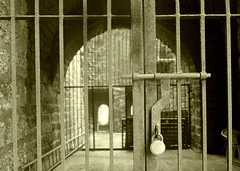 Caged (Bhaskar Dutta) Tags: aguada fort goa bars cage iron lock sepia india ruins