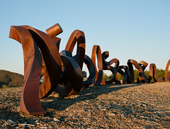 Wide Brown Land sculpture (i-lenticularis) Tags: kodakfilm mediumformatfilm sculpture iron rust art canberra widebrownland 1125 julaug2016 nationalarboretum p6775f45 p67ii portra160 f8