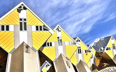 Cube-Houses, Rotterdam, the Netherlands (Alona Azaria) Tags: yellow rotterdam cubehouses buildings architect modern sky 2470mmf28 nikon nikkor d800