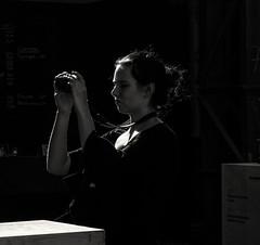 Klick (Georgie Pauwels) Tags: photograph camera candid light darkness girl olympus blackandwhite streetphotography moment unposed public photokina