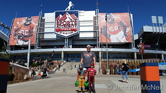 October 15, 2016 - The McNeil twins and their dad enjoy Halloween festivities at Mile High. (Jennifer McNeil)