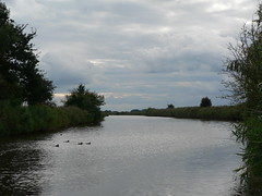 halcyon (achatphoenix) Tags: water waterscape wasser eau aqua eastfrisia ostfriesland view bridge road roadtrip rheiderland rural reflection spiegelung autumn sky clouds nuages