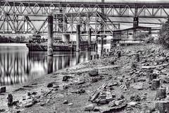 River Barge (beelzebub2011) Tags: canada britishcolumbia newwestminster bw monochrome longexposure fraserriver barges