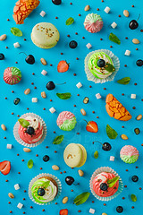 Sweet patterns: cupcake (Dina Belenko) Tags: pastry confectionery variety assortment pattern fromabove highangle geometry bright vibrant colorblock colorful party birthday celebration holiday strawberry berry details food sweets baking bake ingredients cooking fruit summer fun cupcakes pistachio marshmallow meringue blueberry mint cherry chocolate crispyballs macaroon lightblue blue sky orange khabarovsk khabarovskterritory russia