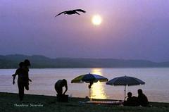 Sunset at Toroneos gulf 1992 (1) (teogera) Tags: hellas greece macedonia makedonia chalkidiki kassandra toroneos pefkochori gulf contax 159mm carlzeiss planar planart kodak kodachrome 200asa        film sunset   scanned canon canonscan 4200f