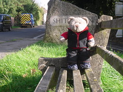 'Ere I am at Bere Regis... (pefkosmad) Tags: tedricstudmuffin ted teddy bear holibobs holiday vacation vacances tourism travel piddletrenthide piddle valley dorset littlebriar selfcatering cottage week village cute soft stuffed toy cuddly plush fluffy exploring shitterton hamlet bereregis