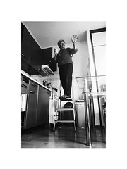 cleaning I. (Marek Pupk) Tags: central europe slovakia blackandwhite bw monochrome documentary old woman life social film analog ilford xp2 canon eos a2 24mm lens