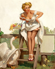 Worth a Gander by Gil Elvgren, 1951 (Tom Simpson) Tags: gilelvgren pinup pinupart vintage illustration painting woman girl legs sexy stockings thighhighs heels nylons art upskirt garterbelt lingerie boobs goose gander worthagander 1951 1950s