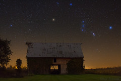 "Orion's Belt over Midwestern Barn (IronRodArt - Royce Bair (""Star Shooter"")) Tags: starrynight constellations nightphotography nightscape stars orion orionsbelt barn oldbarn midwest midwestern"