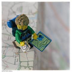 Edge Of The World (peterphotographic) Tags: img6804sqcb2parisedwm edgeoftheworld canon g15 square camerabag2 peterhall macromondays macro closeup edge plymouth westcountry derriford devon england uk britain lego minifig depthoffield dof bokeh map ordnancesurvey hill walk walker