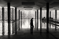 Walk on by... (Hemzah Ahmed) Tags: asian asia kualalumpur malaysia fareast mosque masjid prayer pray faith islam muslim lady woman shadow reflection marble silhouette silhouettes blackandwhite blackwhite blacknwhite noiretblanc monochrome monochromatic mono sepia canon canon5dmark3 5d canon5dmarkiii canon5d 2470mm 2470mmf28ii 2470mmf28 2470 canon2470mmf28iil travel
