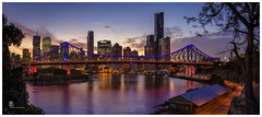 Brisbane City skyline (pbaddz) Tags: urban sunset river australia city skyline brisbane storybridge queensland