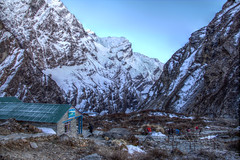 Morning at MBC (pbr42) Tags: nepal mountain snow landscape valley annapurna hdr luminance basecamp modi machapucharebasecamp